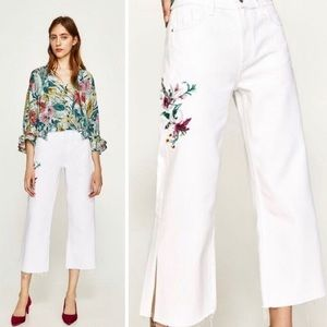 Zara NWT Cropped Floral Embroidered Denim